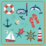 Set of nautical and marine icons Stock Images
