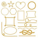 Set of nautical marine rope knots, corners and frames. Decorative elements in nautical style. Vector illustration Stock Photography