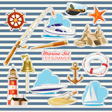 Set of nautical or naval elements Stock Image