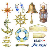 Set of nautical objects. Hand drawn watercolor painting on white background Stock Photo
