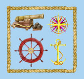 Set with nautical objects and rope frame. Marine set with nautical objects and rope frame, hand drawn design elements Stock Images
