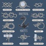 Set of nautical rope knots. Stock Image