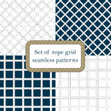 Set of nautical rope seamless fishnet patterns. Set of nautical rope seamless tied fishnet patterns on white or dark blue background Royalty Free Stock Photos