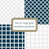 Set of nautical rope seamless fishnet patterns Royalty Free Stock Photos