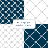 Set of nautical rope seamless fishnet patterns. Set of nautical rope seamless tied fishnet patterns on white or dark blue background, cord grid Royalty Free Stock Images