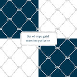 Set of nautical rope seamless fishnet patterns. Set of nautical rope seamless tied fishnet patterns on white or dark blue background, cord grid Stock Images