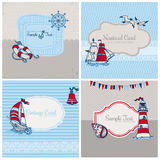 Set of Nautical Sea Cards Royalty Free Stock Photos