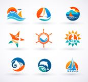 Set of nautical, sea icons and symbols Royalty Free Stock Photography