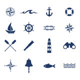 Set of nautical sea ocean sailing icons royalty free illustration
