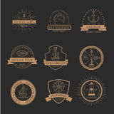 Set of nautical seafaring badges, labels and logos Royalty Free Stock Photography