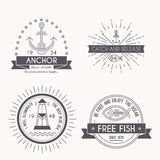 Set of nautical seafaring badges, labels and logos Stock Photography