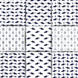 Set of nautical seamless backgrounds, vector illustration. Set of nautical backgrounds, seamless texture with elements of marine inventory, anchor, shark and Royalty Free Stock Photo