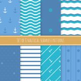 Set of 8 nautical seamless patterns. Nautical seamless patterns. Set of 8 sea patterns. Vector illustration Stock Photography