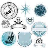 Set of nautical ship signs Stock Photo