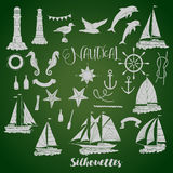 Set with nautical  silhouettes Stock Images