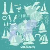 Set with nautical  silhouettes Royalty Free Stock Photography