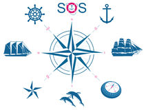 Set of nautical symbols Royalty Free Stock Photography