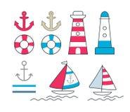 Set of nautical symbols Royalty Free Stock Image