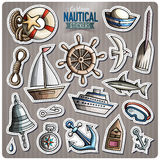 Set of Nautical vector cartoon stickers. Set of Nautical cartoon stickers. Vector hand drawn objects and symbols collection. Label design elements. Cute patches Stock Photo