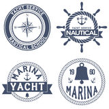 Set of Nautical Yacht badges Stock Photos