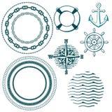 Set of naval elements stock illustration