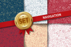 Set of navigation backgrounds with doodle icons in Royalty Free Stock Image