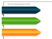 Set of navigation banners. Illustrated set of different colored navigational banners isolated on a white background stock illustration