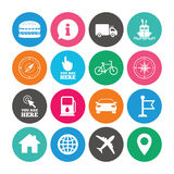 Set of Navigation and Gps icons. Windrose, Compass and Burger signs. Bicycle, Ship and Car symbols. Location pointer and flag. Colored circle buttons with flat Royalty Free Stock Images