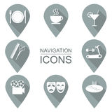 Set of navigation icons. Flat design. Public institutions.  Royalty Free Stock Photo