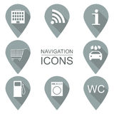 Set of navigation icons. Flat design. Service industries.  Stock Photography