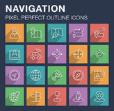 Set of navigation icons with long shadow. Pixel perfect outline icons for mobile apps and web design. Editable stroke Royalty Free Stock Image