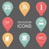 Set of navigation icons. Outlined icons. public institutions.  Stock Photography