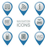 Set of navigation icons.  Volumetric. Public institutions.  Stock Photos