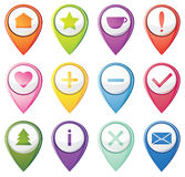 Set of navigation pins Royalty Free Stock Photo