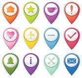 Set of navigation pins Royalty Free Stock Photo