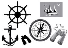 Set for navigation. Set for shipping. Marine binoculars, steering wheel, marine compass, anchor, sailing boat with seagulls isolated on white background Royalty Free Stock Photo