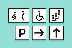 Set of navigation signs. Icons toilet or WC, arrow and escalator on white background. Vector illustration. Stock Photos