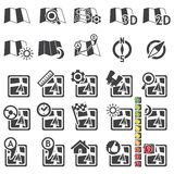 Set of navigational icons. Silhouette Royalty Free Stock Photo