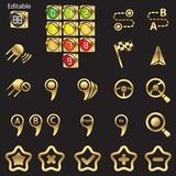 Set of navigational icons. Golden line Royalty Free Stock Photo
