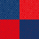 Set Navy Blue Red Star Polka Dots Background. Vector Illustration Stock Photo