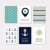 Set of navy theme cards Stock Photos
