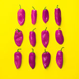 Set of neatly arranged bright peppers on yellow background for u Stock Photo