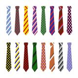 Set neck ties for business and casual attire. Stock Photos