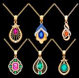 Set of necklace pendants jewelry made of precious s. Illustration set of necklace pendants jewelry made of precious stones Stock Image
