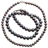 Set of necklaces from natural black pearls Stock Photo