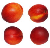 Set nectarine fruit isolated on white Royalty Free Stock Images