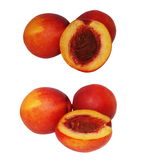 Set nectarine fruit isolated on white Royalty Free Stock Photos