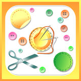 Set needlewoman needles, thread, scissors and buttons. Vector set framed in yellow Royalty Free Stock Images