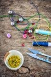 Set for needlework beaded Royalty Free Stock Image