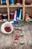 Set for needlework beaded Stock Photos